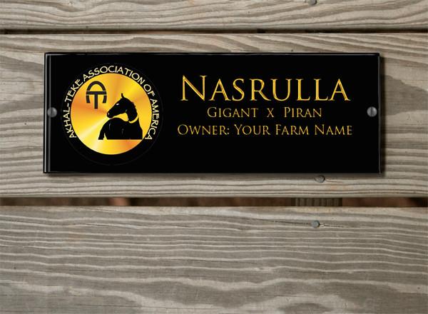 ATAA Logo Acrylic Horse Stall Name Plate