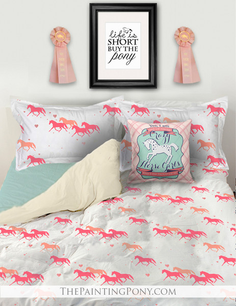 Pink and White Trotting Pony with Hearts Bedding Set
