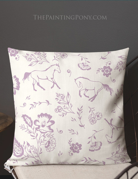 Country Floral Horse Pattern Equestrian Throw Pillow