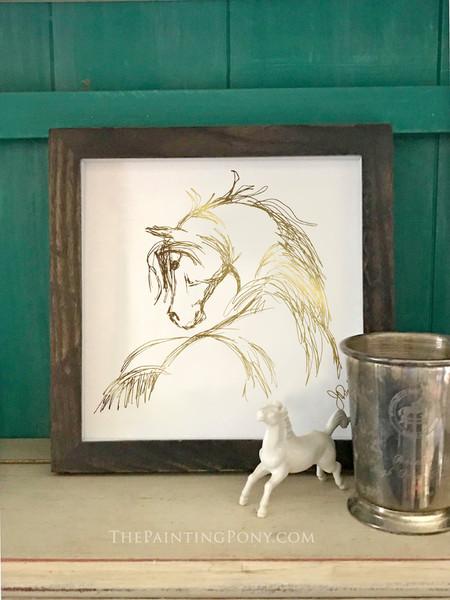 Metallic Gold Foil Horse Head Sketch Art Print