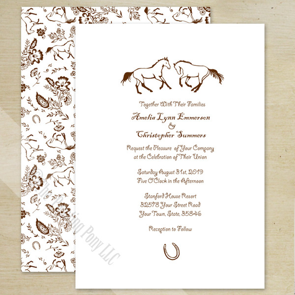 Country Floral Horses Wedding Invitation (10 pk)