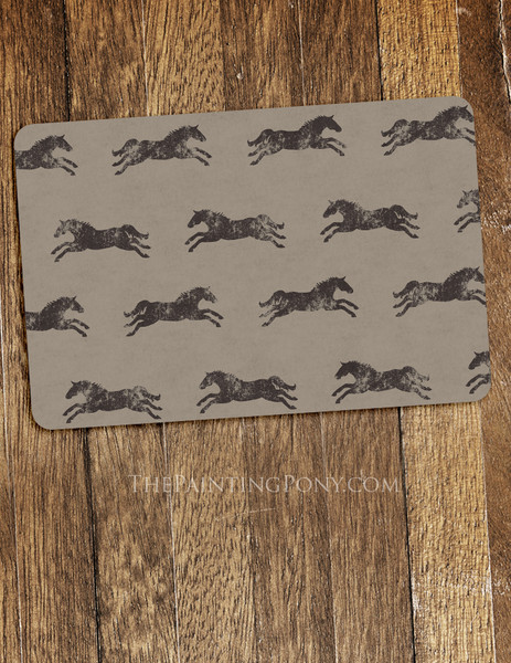 Classic Galloping Horse Pattern Equestrian Themed Pet Food Mat