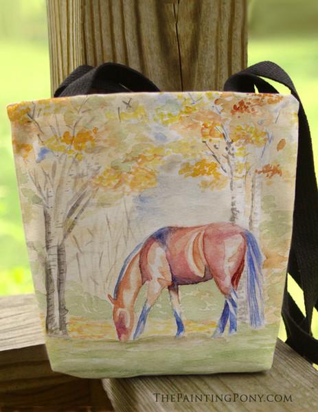 Fall Watercolor Horse Art Equestrian Tote Bag