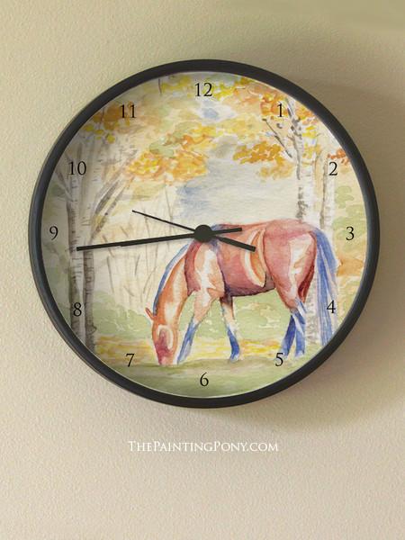 Fall Horse Watercolor Art Equestrian Bloom Wall Clock