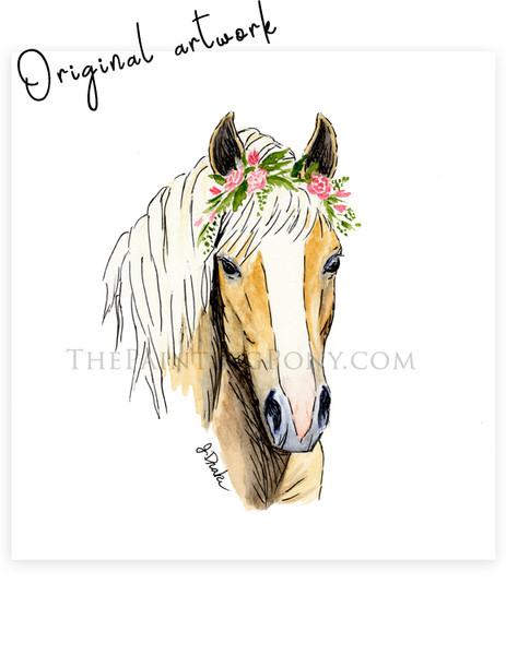 Original Watercolor Haflinger Horse Head Study Painting