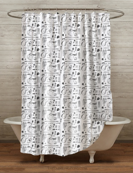 Horse Show Essentials Equestrian Shower Curtain