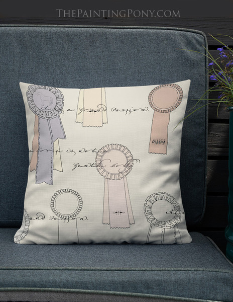 Vintage Horse Show Ribbons Square Pillow