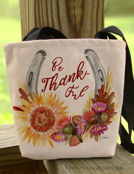 Be Thankful Horse Shoe Art Equestrian Tote Bag