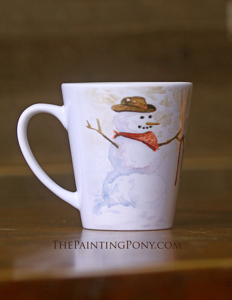 Cowboy Snowman and Pony Equestrian Latte Coffee Mug