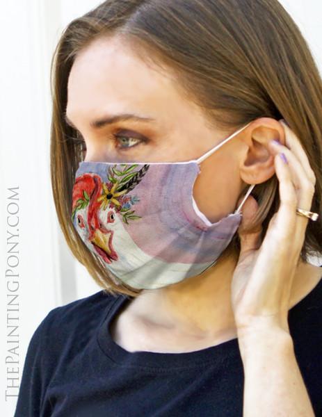 Bohemian Chicken Art Face Mask Coverlet