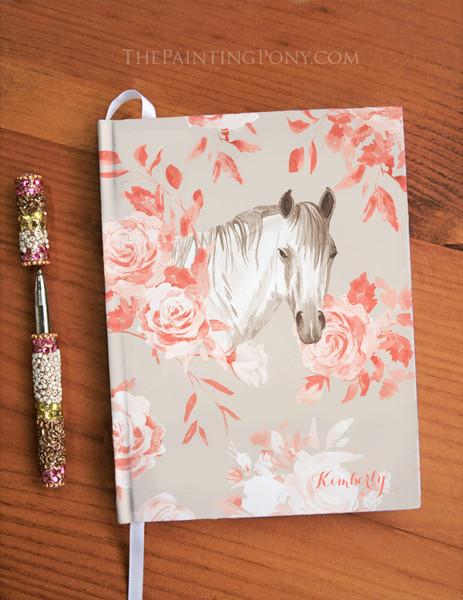 Rose Bouquet Horse Head Equestrian Designer Hardbound Journal