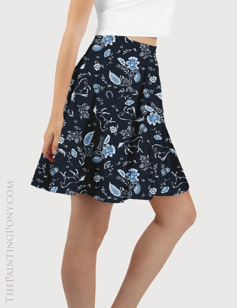 Country Floral Horse Pattern Equestrian Flare Skirt