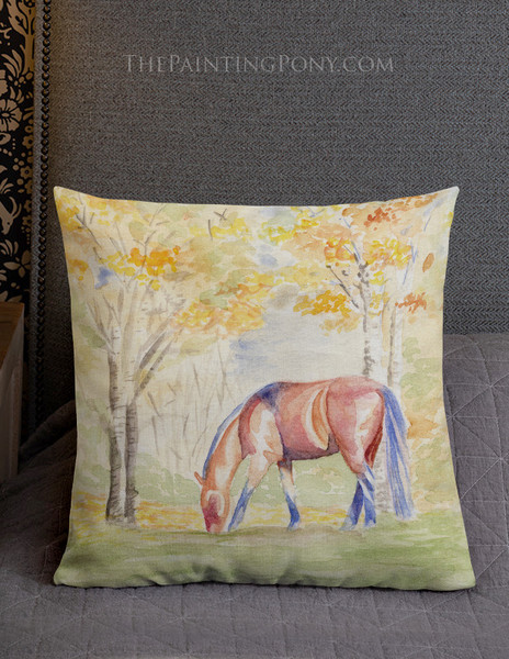 Fall Watercolor Horse Art Equestrian Throw Pillow