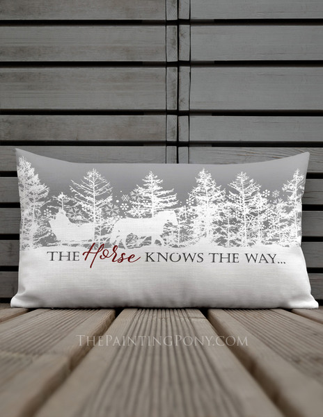 The Horse Knows the Way Equestrian Holiday Lumbar Pillow