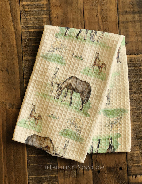 Mare and Horse Foals Farmhouse Style Waffle Weave Kitchen Towel
