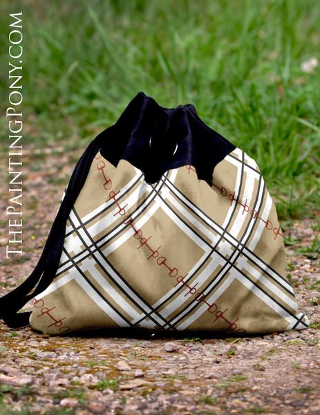 Plaid Horse Bit Pattern Equestrian Pattern Sling Tote Bag