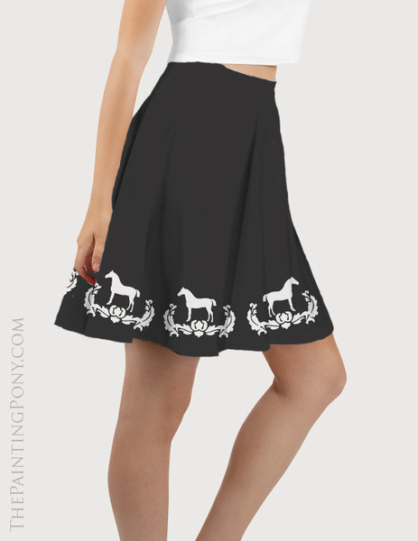 Classic Damask Horse Equestrian Flare Skirt