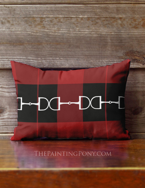 Festive Red Horse Bit Plaid Pattern Equestrian Accent Pillow