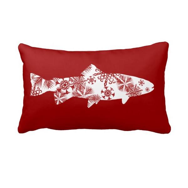 Snowflake Trout Throw Pillow