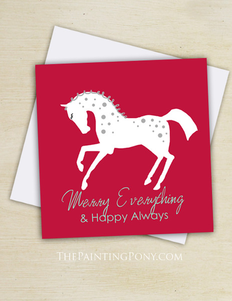 White Pony Equestrian Christmas Cards (10 pk)