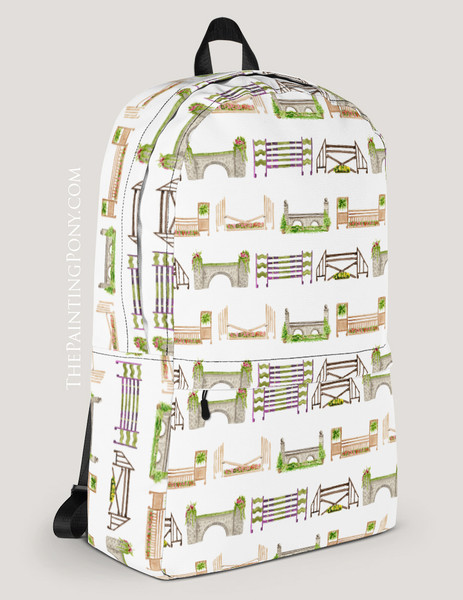 Horse Jumps Pattern Equestrian Backpack