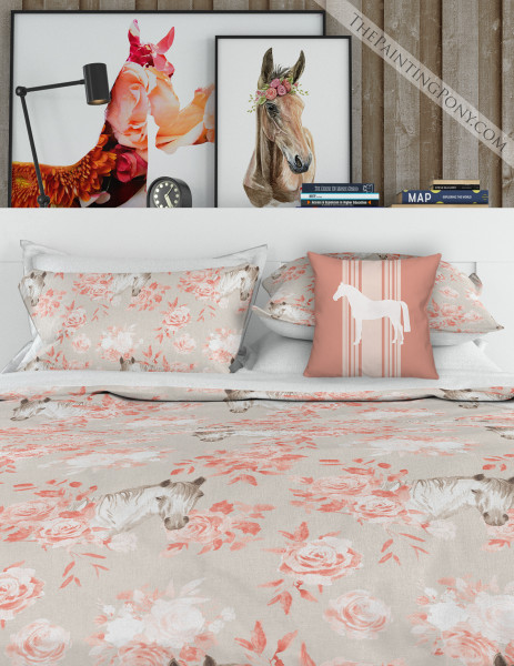 Rose Bouquets and Horses Equestrian Bedding Set (More Colors Available)