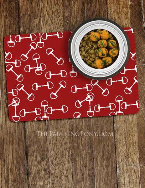 Horse Bit Pattern Equestrian Themed Pet Food Mat