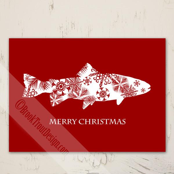 Snowflake Trout Christmas Fishing Greeting Cards (10 pk)