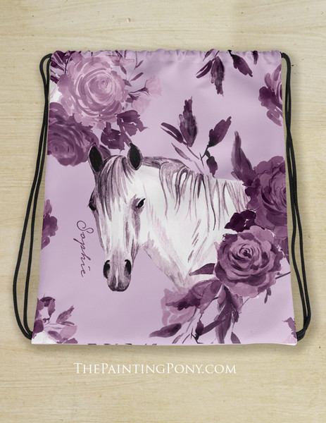 Purple Floral Horse Head Customized Equestrian Drawstring Barn Tote Bag