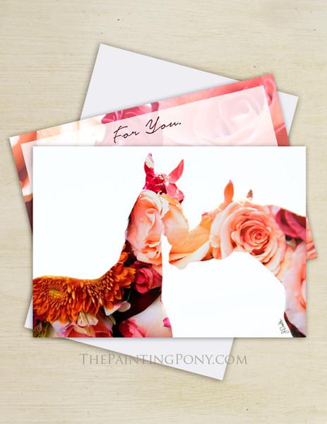Rose Horses Valentine's Day Flat Cards (10 pk)