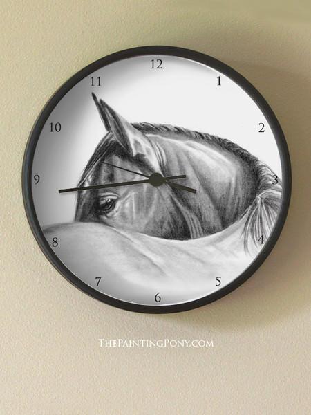 Horse Head Art Equestrian Wall Clock
