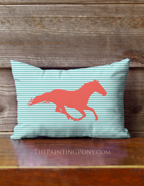 Racing Horse with Stripes Equestrian Accent Pillow