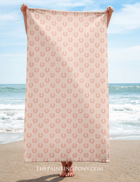 Horse Shoe Pattern Equestrian Beach Towel