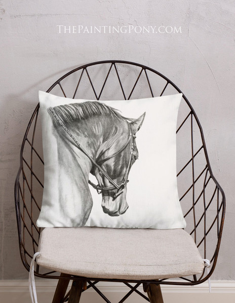 Collected Horse Head Art Equestrian Throw Pillow