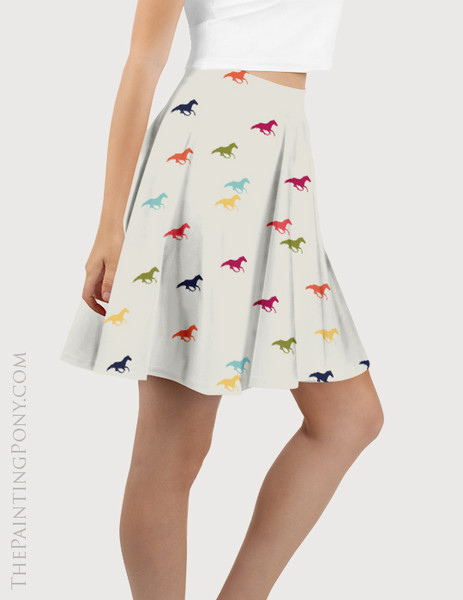 Confetti Galloping Horse Pattern Equestrian Flare Skirt