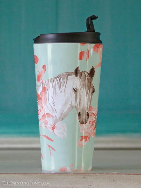Floral Horse Head Equestrian Travel Tumbler