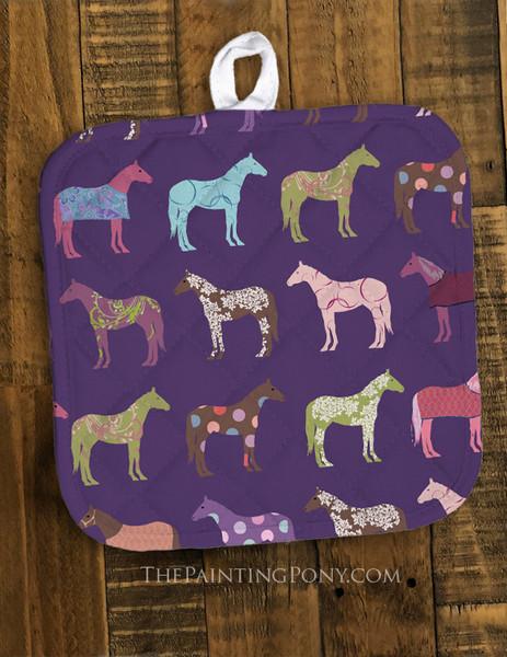 Fun Horse Pattern Equestrian Pot Holder