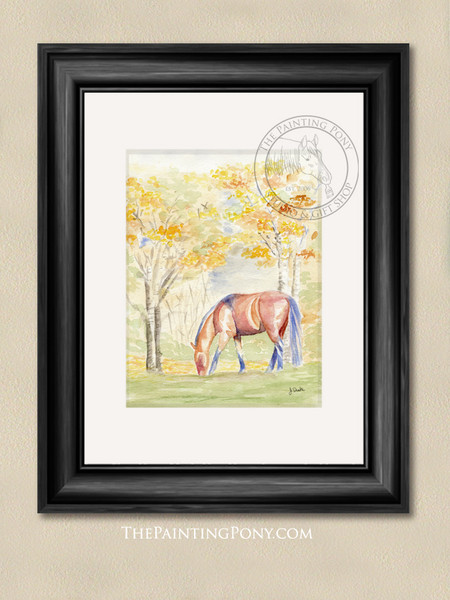 Fall Watercolor Horse Equestrian Art Print