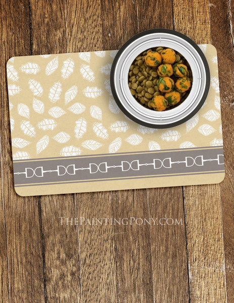 Autumn Snaffle Horse Bits Equestrian Themed Pet Food Mat