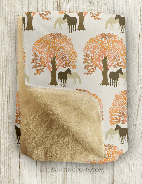 Autumn Horses Pattern Sherpa Fleece Throw Blanket