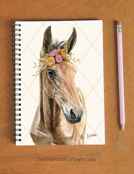 Bohemian Horse Head Spiral Notebook