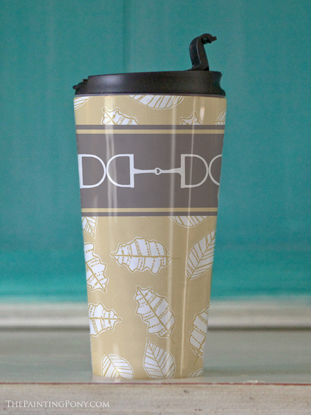 Fall Leaves and Horse Bits Equestrian Travel Tumbler