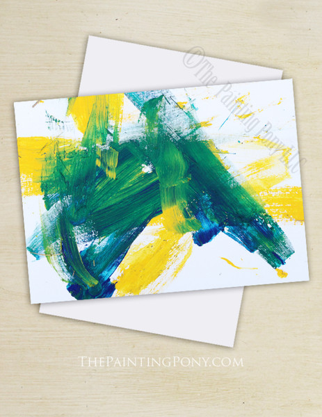 """Abstract Horse Art """"Painting 103 Bluegrass Pony"""" Note Cards"""