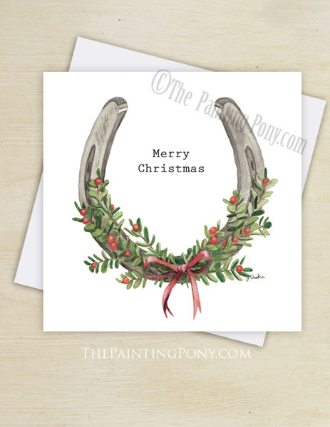 Horse Shoe with Mistletoe Berries Christmas Greeting Cards (10 pk)