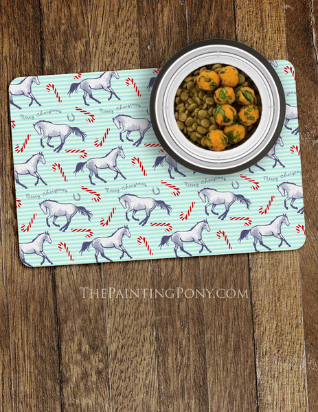 Christmas Candy Canes and Ponies Themed Pet Food Mat