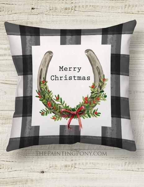 Christmas Horse Shoe Art Country Throw Pillow