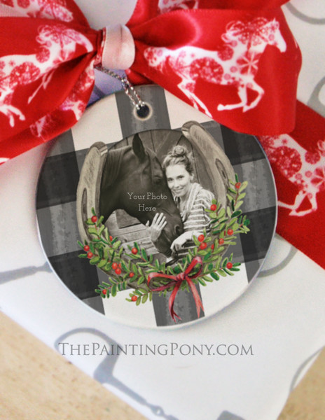 Horse Shoe with Mistletoe Photo Christmas Ornament