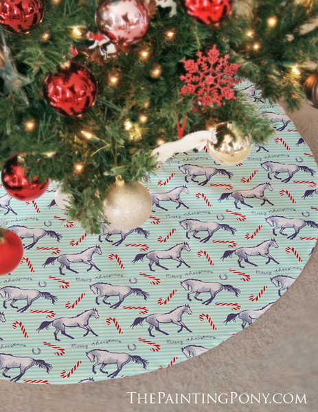 Candy Canes and Christmas Ponies Holiday Tree Skirt