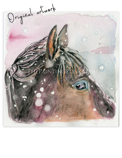 """Falling Snow"" Horse Eye Watercolor Painting"