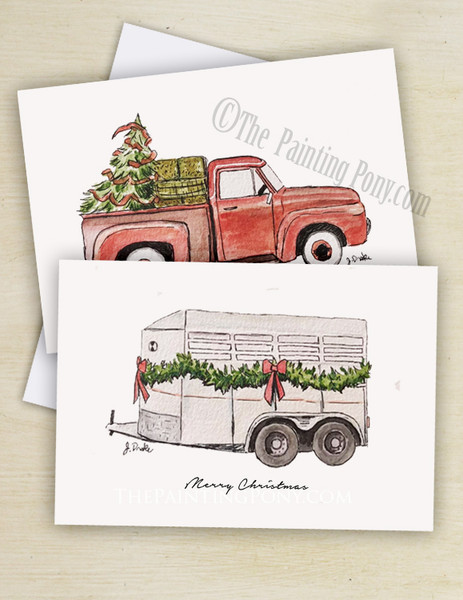 Old Red Farm Truck or Horse Trailer Country Christmas Cards (10 pk)